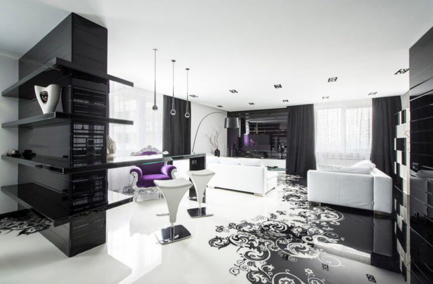 Современный ремонт квартир на Оболони в черно-белом стиле