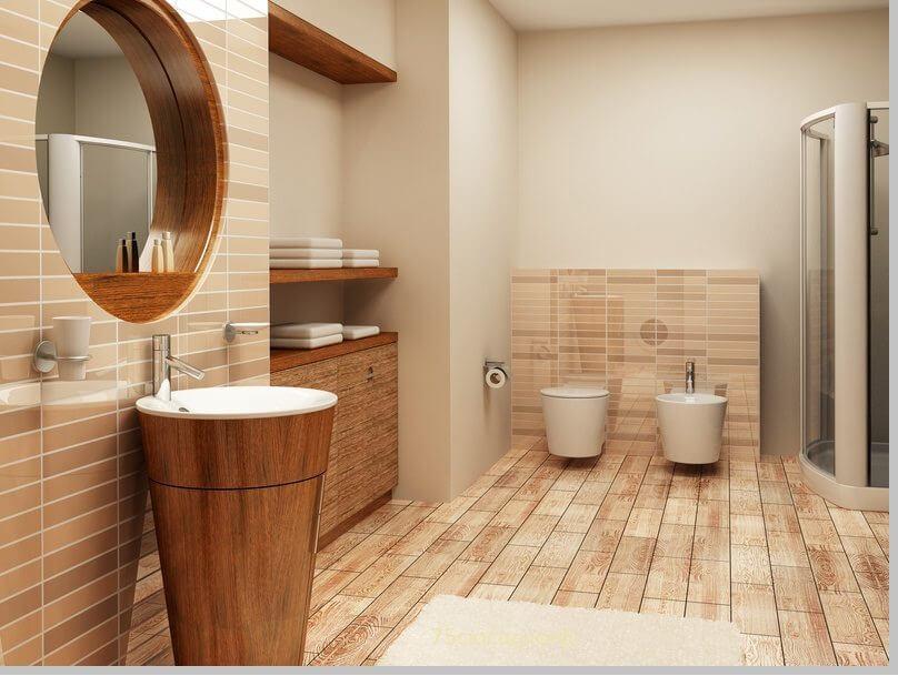 Дизайн ванной комнаты под дерево в Киеве