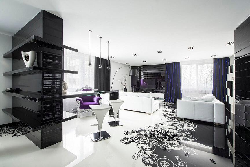 Дизайн интерьера квартиры в черно-белом стиле