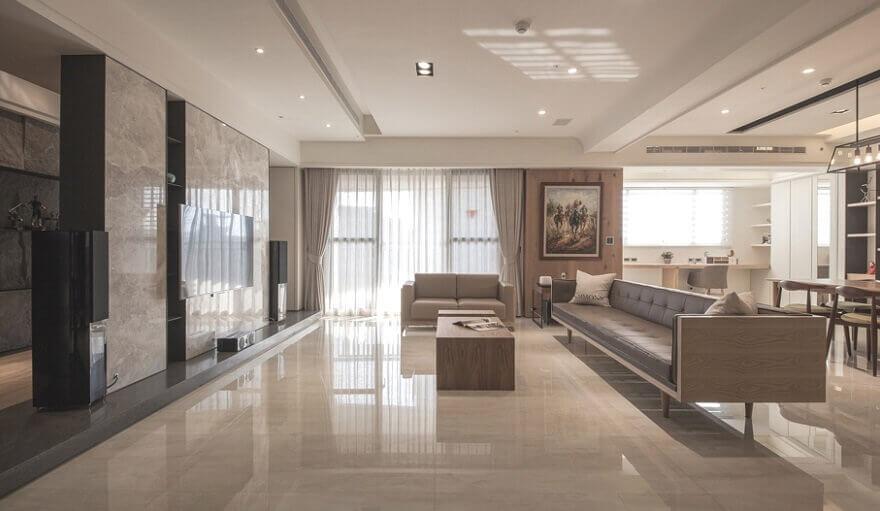 Дизайн интерьера квартиры с мрамором в Киеве